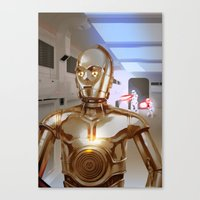 c3po Canvas Prints featuring C3PO by Santiago Sarquis