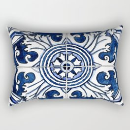 Blue and White Floral Portuguese Tile Rectangular Pillow