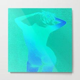 Carefree Nude Teal Blue Metal Print