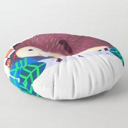 Porcupine illustration, cute Hedgehog, funny pet Floor Pillow