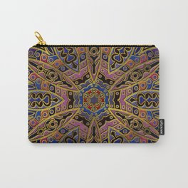 Mandala Gold Embossed on Faux Leather Carry-All Pouch