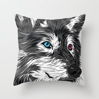 gray Throw Pillows featuring Gray wolf by Roland Banrevi