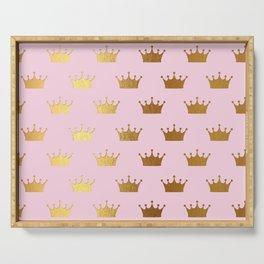 Gold Glitter effect crowns on pink - Royal Pattern for Princesses Serving Tray