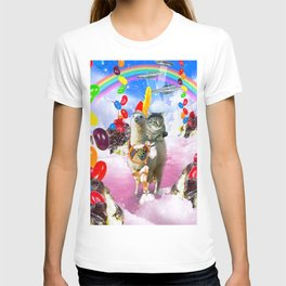 Cat Riding Llama With Sundae And Jelly Beans T-shirt