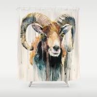 ram Shower Curtains featuring Ram by Slaveika Aladjova