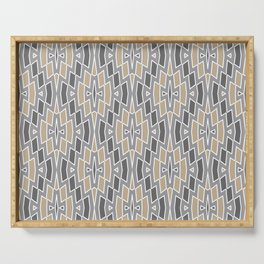 Tribal Diamond Pattern in Gray and Tan Serving Tray