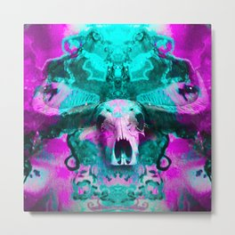 Psychedelic skull (purple and blue) Metal Print
