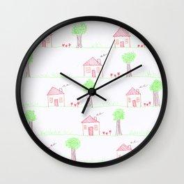 House Pattern Wall Clock
