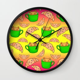 Cute happy playful funny Kawaii baby kittens sitting in little green espresso coffee cups, sweet adorable yummy croissants cartoon sunny yellow bright pink design. Wall Clock