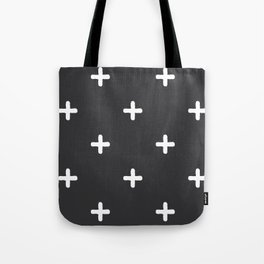 White Crosses on Charcoal Grey Tote Bag