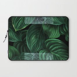 tropical green pattern on black Laptop Sleeve