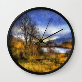 Fall Lake Wall Clock
