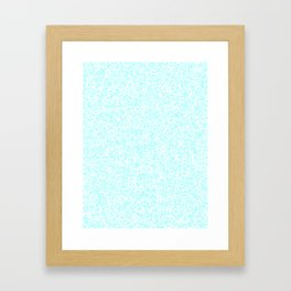 Tiny Spots - White and Celeste Cyan Framed Art Print