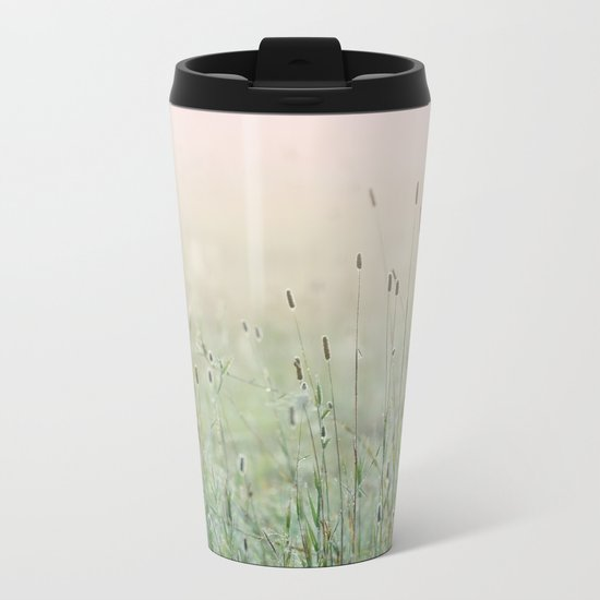 Idyllic Grass Field in the Morning Sun Metal Travel Mug