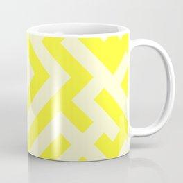 Cream Yellow and Electric Yellow Diagonal Labyrinth Coffee Mug