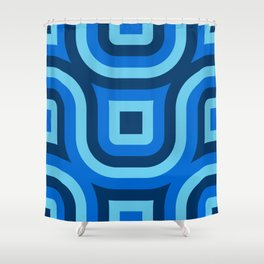 Blue Truchet Pattern Shower Curtain