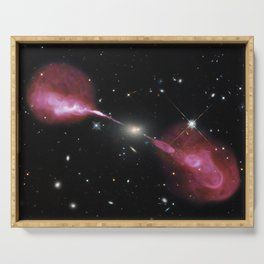 Galaxy Hercules A centered by Massive Black Hole Telescopic Photograph Serving Tray