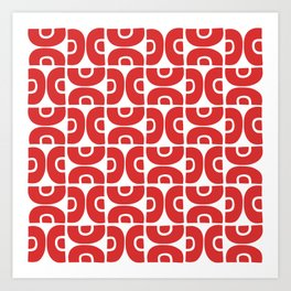 Groovy Mid Century Modern Pattern Red Art Print
