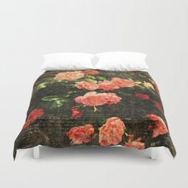 Vintage roses and scripts Duvet Cover