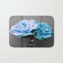 fLoWers Aqua Blue Pop of Color Bath Mat