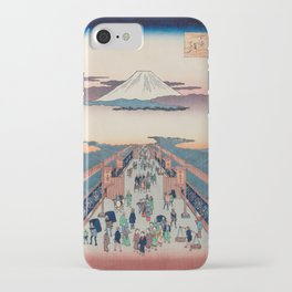 Mount Fuji above Ancient Street Ukiyo-e Japanese Art iPhone Case