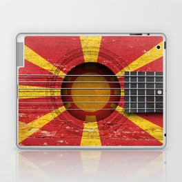 Old Vintage Acoustic Guitar with Macedonian Flag Laptop & iPad Skin