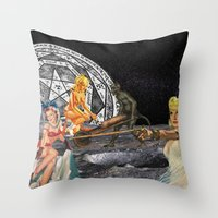 pagan Throw Pillows featuring Pagan Circle by Marina Poison