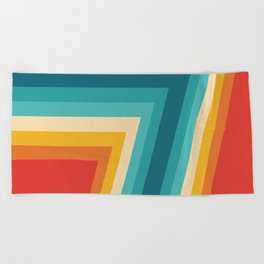 Colorful Retro Stripes  - 70s, 80s Abstract Design Beach Towel