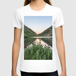 Natures Bouquet // Green and Red Floral Foreground Mountain and Moon Reflection T-shirt