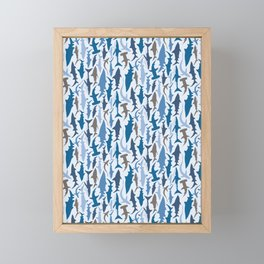 Swimming with Sharks in Blue and Grey Framed Mini Art Print