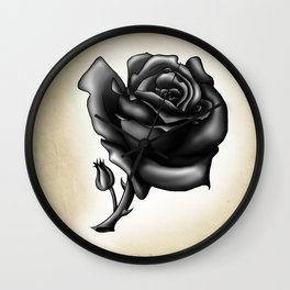 Tattoo Flash Rose black and white Wall Clock