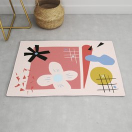 Modern Abstract Shapes Print Rug