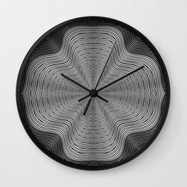 Modern Black and White Curvy Swirled Stripes Wall Clock