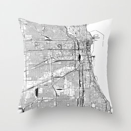 Chicago White Map Throw Pillow