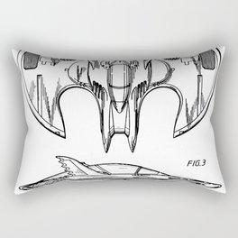 Batwing Patent - Bat Wing Art - Black And White Rectangular Pillow