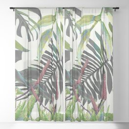Watercolor Plants II Sheer Curtain