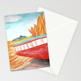 Boat on fire Stationery Cards