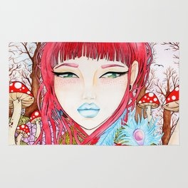 She is watercolor painting illustration by Sophi Art Rug