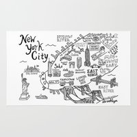 new york map Area & Throw Rugs featuring New York City Map by Claire Lordon