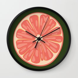 Bright Stacked Citrus on Forest Green Mat Wall Clock