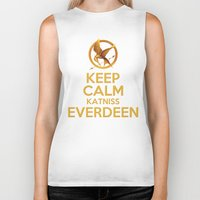 katniss Biker Tanks featuring KEEP CALM KATNISS EVERDEEN by BomDesignz