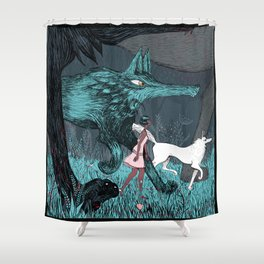 Woman Wolf wandering Shower Curtain