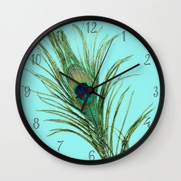 Peacock Feather on Blue Background Wall Clock