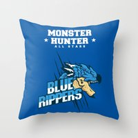 monster hunter Throw Pillows featuring Monster Hunter All Stars - Blue Rippers by Bleached ink