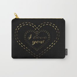 Faux Gold Foil I LOVE YOU typography Carry-All Pouch