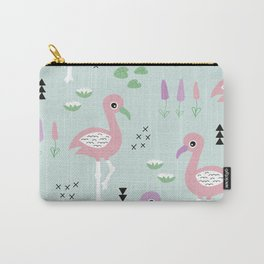 Tropical flamingo beach summer pattern Carry-All Pouch