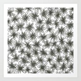 Black Daisy Pattern Art Print
