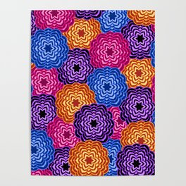 Dahlia Rainbow Multicolored Floral Abstract Pattern Poster
