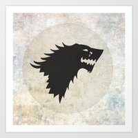 game of thrones Art Prints featuring Stark Flag (Game of Thrones) by Goat Robot