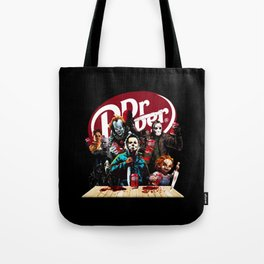 Funny Halloween Horror Characters Drinking Dr Pepper Tote Bag